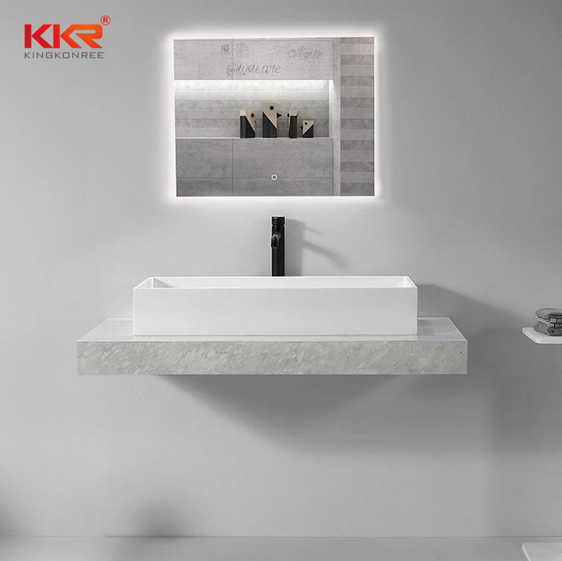 Classic Design Rectangle Solid Surface Above Countertop Wash Basin KKR-1114