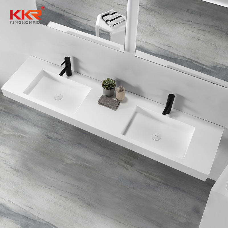 One-stop Shipping Acrylic Marble Solid Surface Bathroom Vanity Set With Mirror KKR-1605