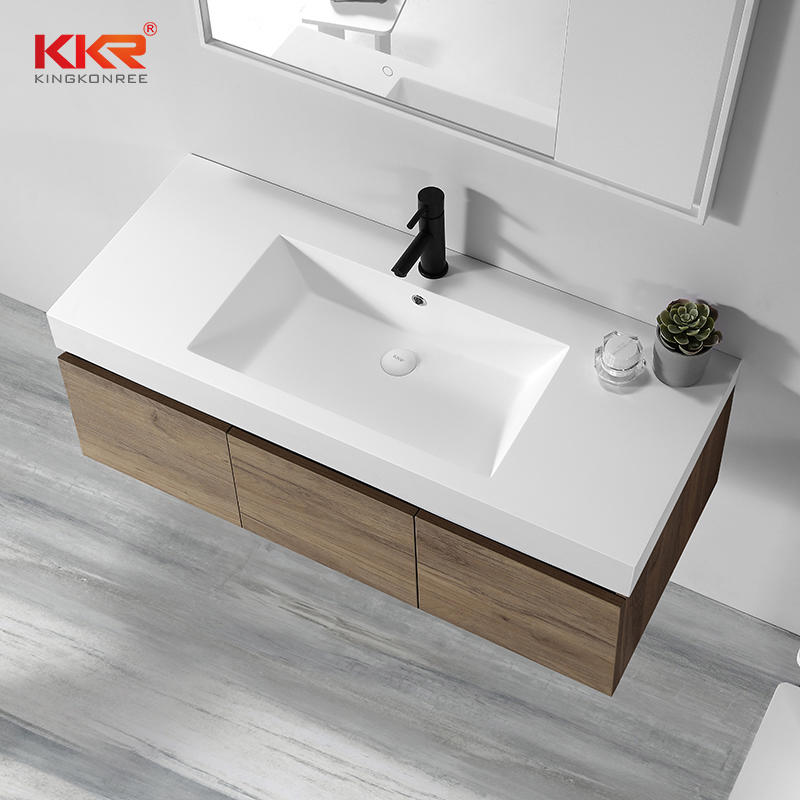 Royal White Artificial Marble Solid Surface Cabinet Basin KKR-1800