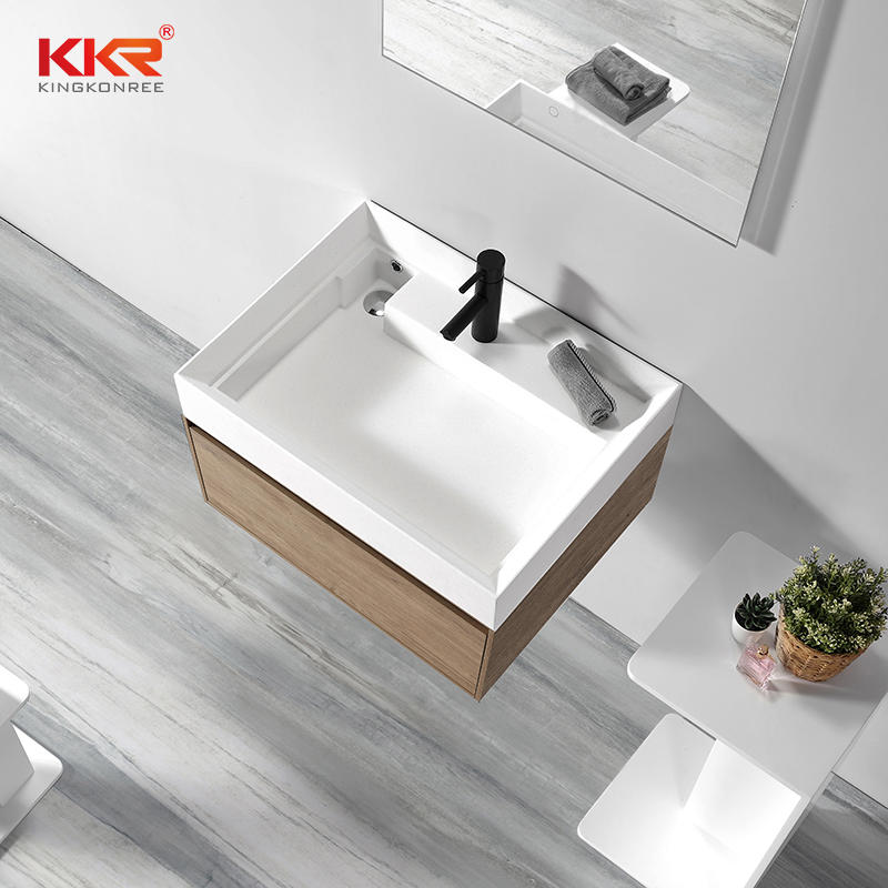 Newly Customized Design Solid Surface Wall Hung Cabinet Basin KKR-1801