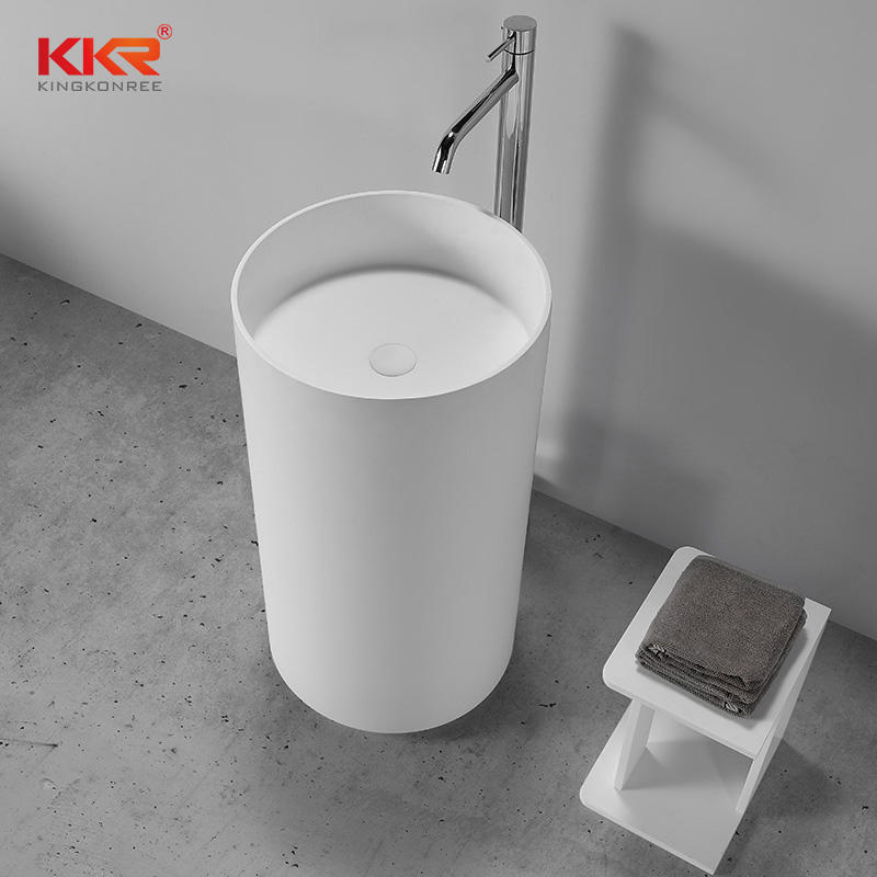 Hot Sales Round Acrylic Resin Stoned Solid Freestanding Basin KKR-1598