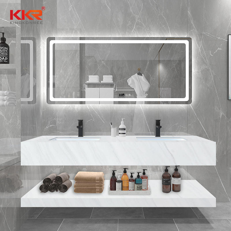 White Marble Texture Pattern Solid Surface Wall Hung Vanity Wash Basin KKR-M8810