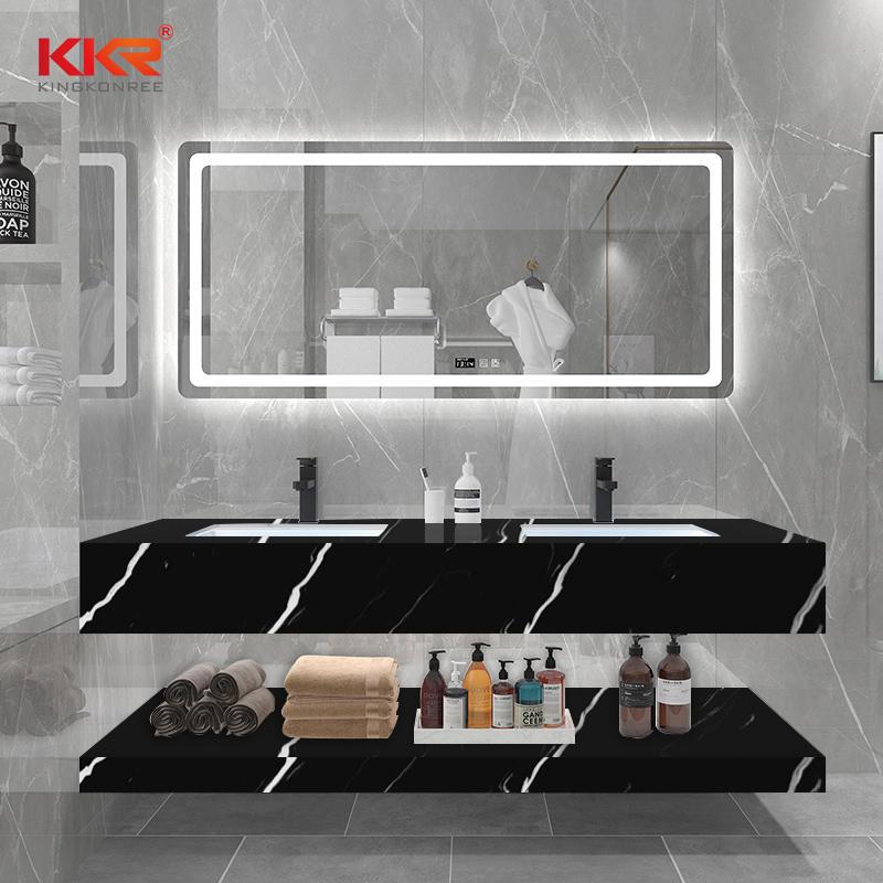 Black Marble White Texture Pattern Solid Surface Bathroom Vanity Basin KKR-M8858