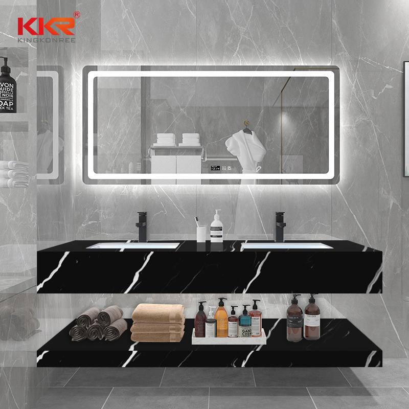 Black Marble White Texture Pattern Solid Surface Bathroom Vanity Basin KKR-M8858