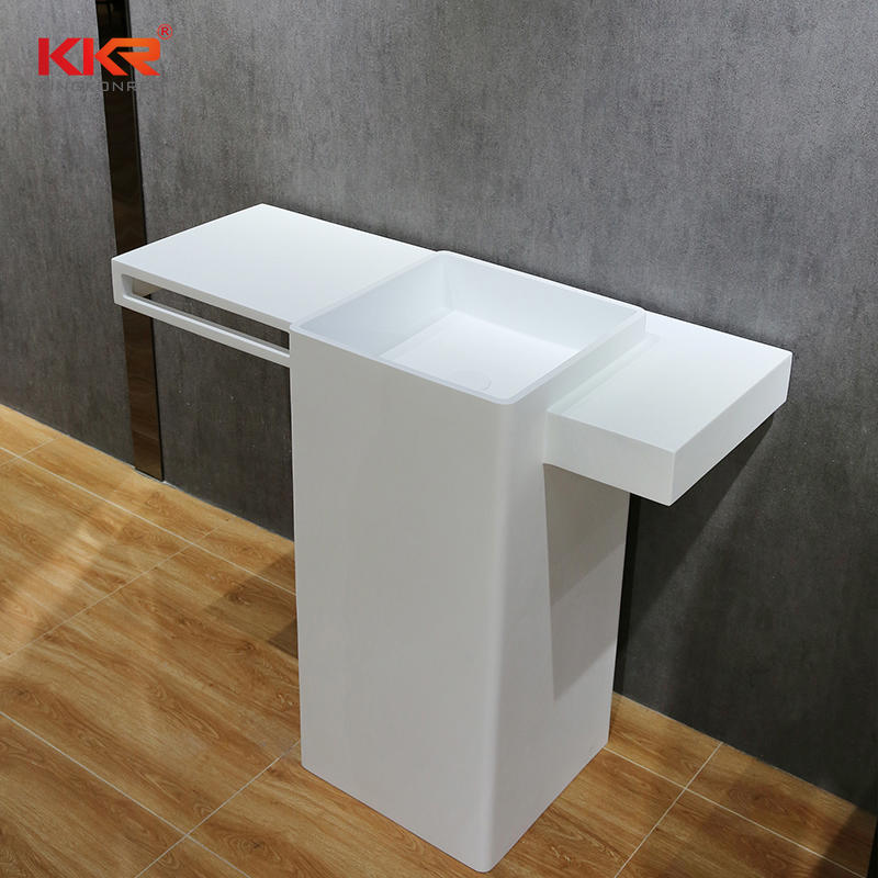 Customized Solid Surface Freestanding Bathroom Basin With Vanity Top and Towel Hanger KKR-1901