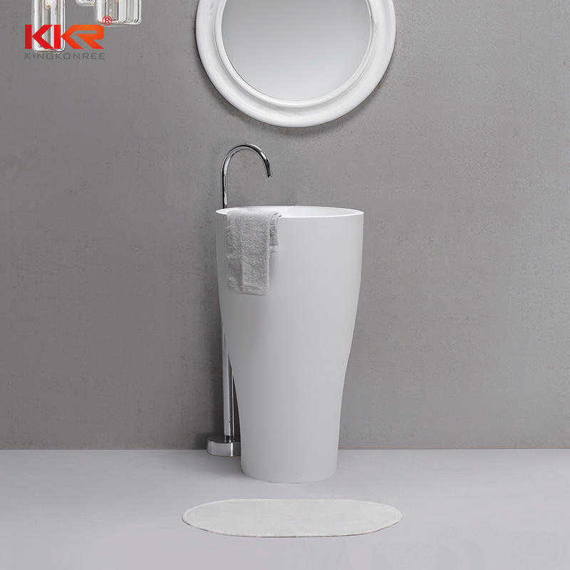 Deluxe Round Artificial Marble Stone Solid Surface Freestanding Basin for 5 Star Hotels KKR-1902
