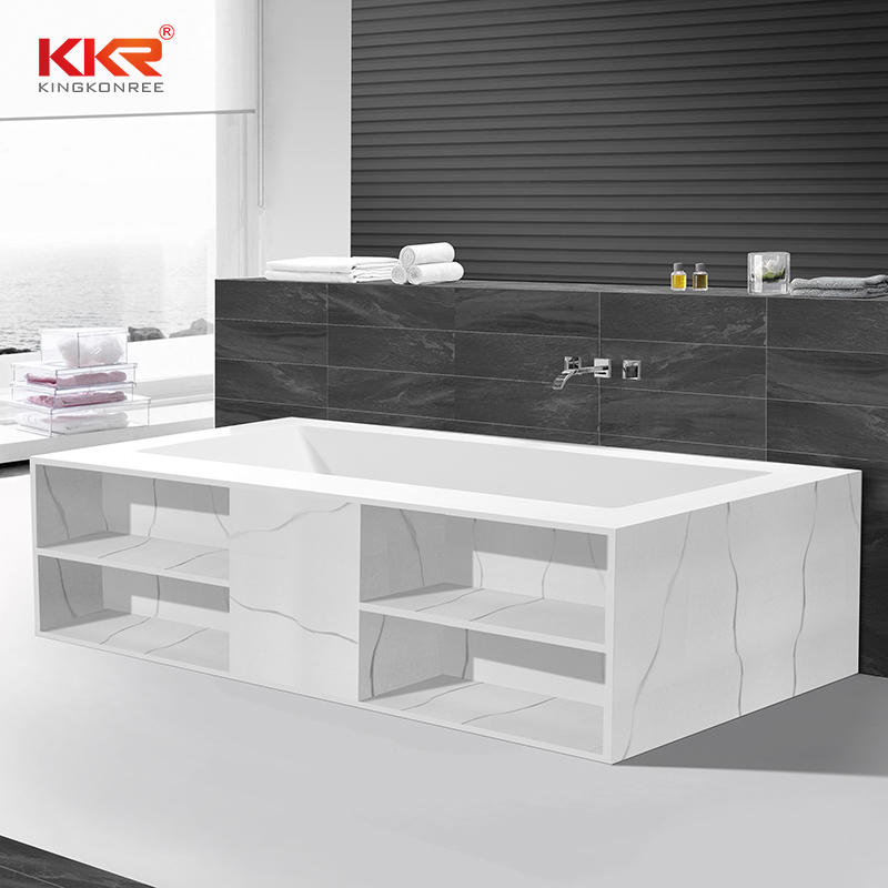 White Marble Solid Surface Built-in Bath Tub with Shelf Design KKR-B069
