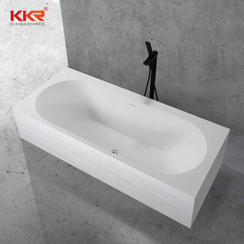 Marble Stone Texture Pattern Solid Surface Freestanding Soaking Bath Tub Built-in Bathtub KKR-B107