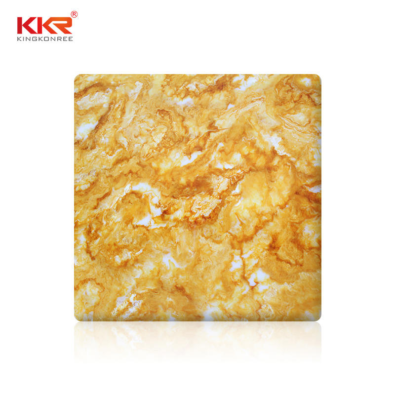 Yellow Marble Pattern Solid Surface Acrylic Stone Slabs Translucent Sheets KKR-A108
