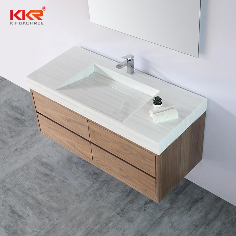 High-end Solid Surface Bathroom Vanity Wash Basin for 5 Stars Hotel Cabinet Basin 001