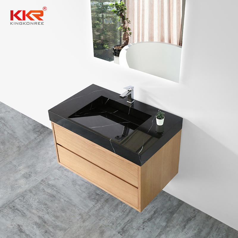 Glossy Black Marble Pattern Solid Surface Resin Stone Bathroom Vanity Basin Cabinet Basin 002