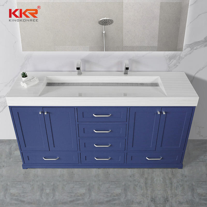 White Texture Marble Vein Pattern Solid Surface Vanity Basin Cabinet Basin 003