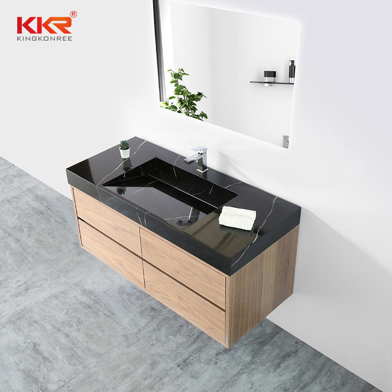 Brown Wooden Vien Wall Hung Bathroom Vanity Cabinet KKR-CAB003