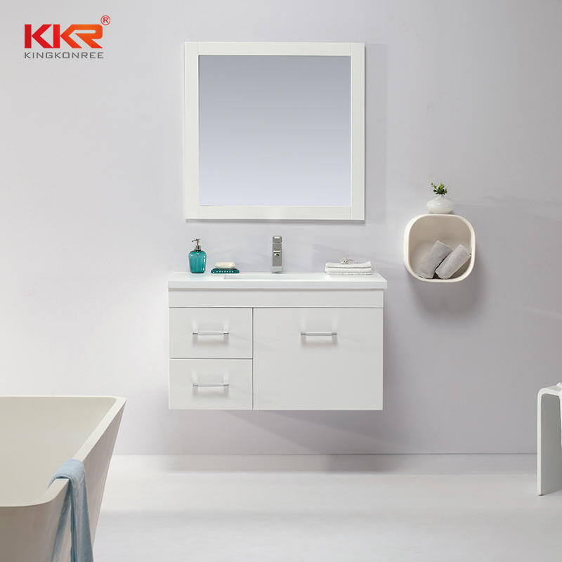 The Whole Set Modern Designs Solid Wood With White Painting Bathroom Cabinets Vanity KKR-702CH