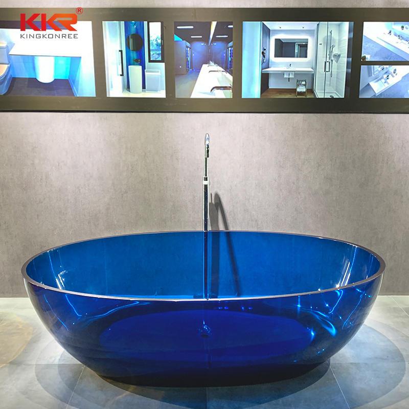 Bathroom Furniture Solid Surface Free Standing Bathtub Clear Resin Colored Bathtub