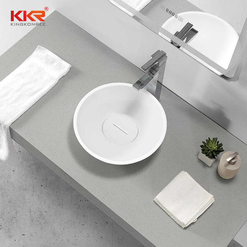 European Design Hot Sales Solid Surface Round Above Counter Wash Basin KKR-1513-A