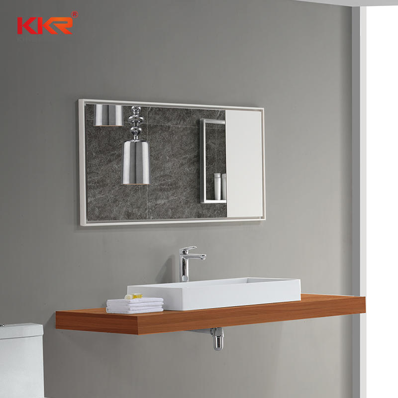 Modern Solid Surface Frame Wall Mounted Luxury Lighted LED Vanity Mirrors for Bathrooms KKR-1570