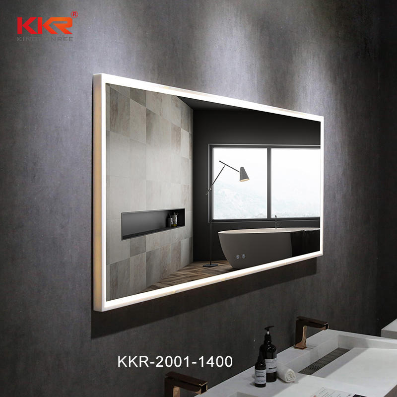 Top Quality Customize Bathroom Furniture Solid Surfce Frame Wall Hung Led Mirrored