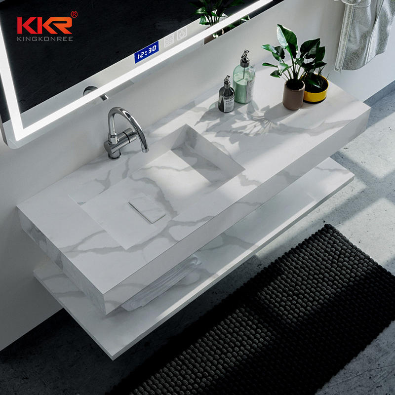 Artificial Marble Stone Resin Basins Sink Acrylic Solid Surface Lavabo Bathroom Washbasin in Color KKR-M069