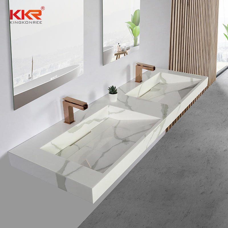 Natural Marble Pattern Artificial Stone Solid Surface Bathroom Vanity Sink in Color KKR-M069