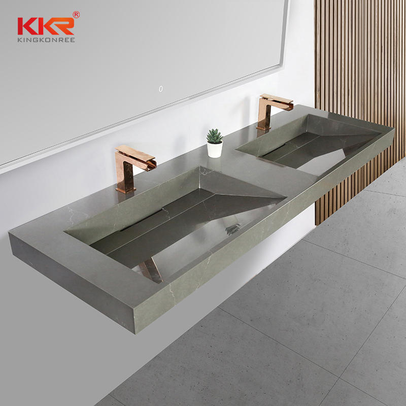 Newly Slope Design Artificial Stone Solid Surface Texture Marble Bathroom Vanity Basin KKR-M072
