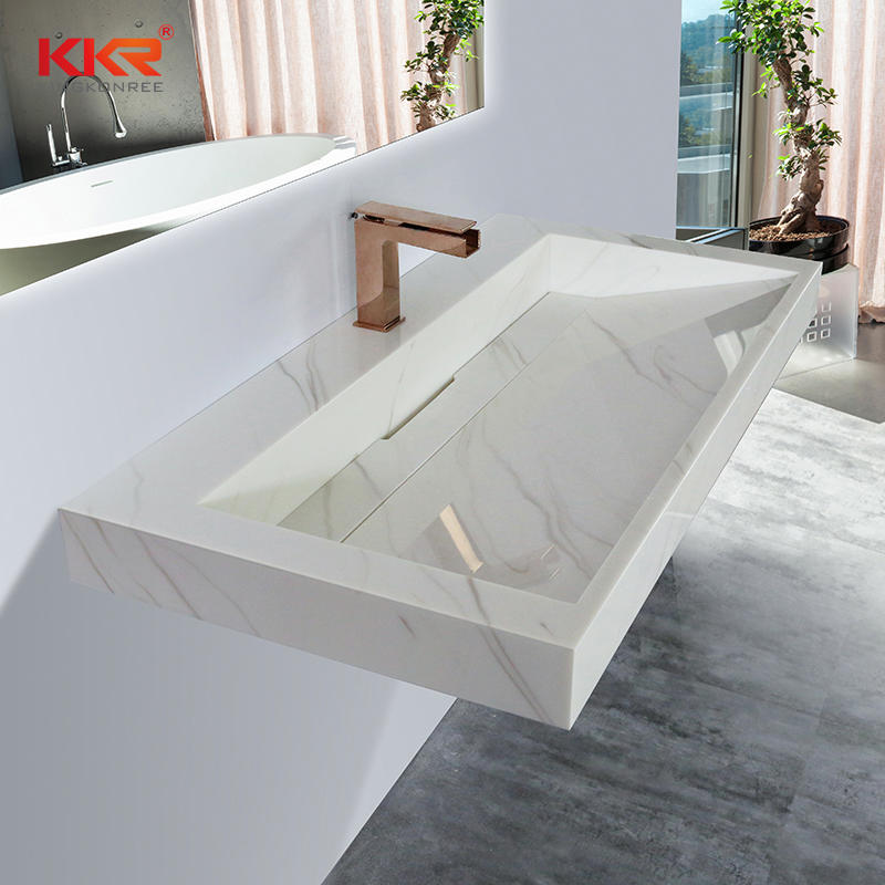 Hotel Modern Poly Marble Stone Basin Marble Solid Surface Rectangle Vessel Sink Bowl KKR-M8818