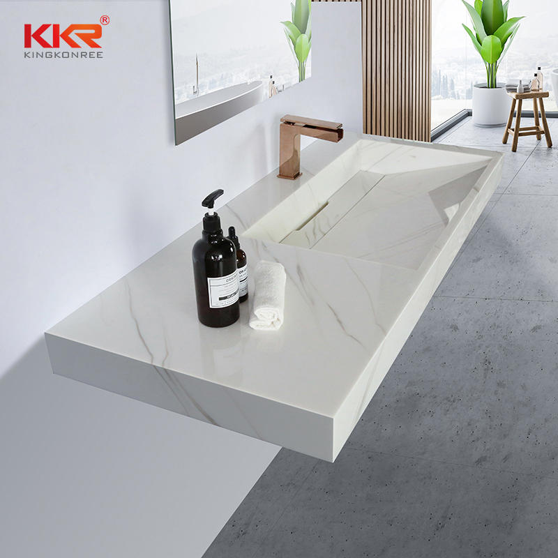 Fabricated solid surface bathroom vanity sinks with single KKR-M8818