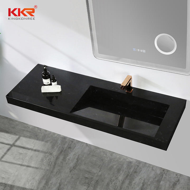 Black and white texture marble acrylic resin solid surface stone bathroom wall mounted basin sinks for 5 star hotel KKR-M7807