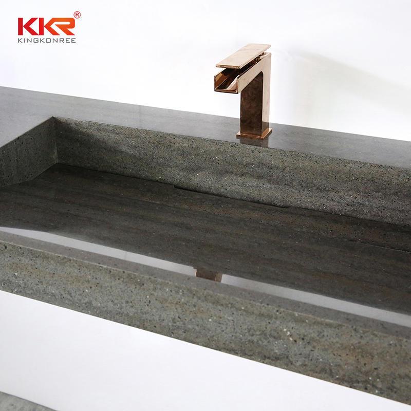 Marble-looking Stone Sink Bathroom Wall-hung Basin Solid Surface Wash Hand Basins Bathroom Cabinet Vanity Sink KKR-8873
