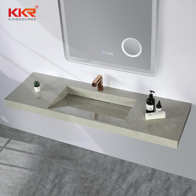Fabricated solid surface bathroom vanity sinks with single or double sink bowls KKR-M8861