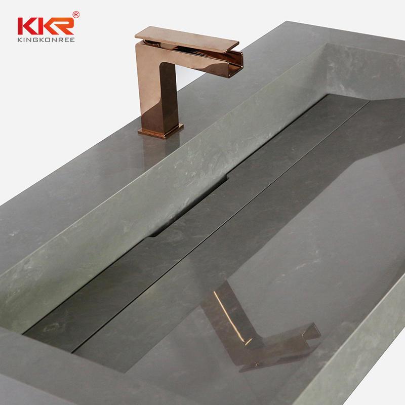 KKR Professional Grey Solid Surface Bathroom Marble Stone Sink Basin for Hotel KKR-M5807