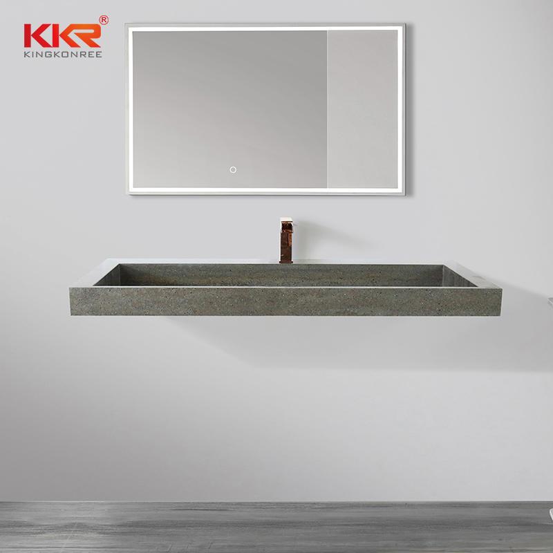 Color KKR-M8873 Marble-looking Vanity Sinks Solid Surface Stone Sinks Bathroom Hand Washing Basins