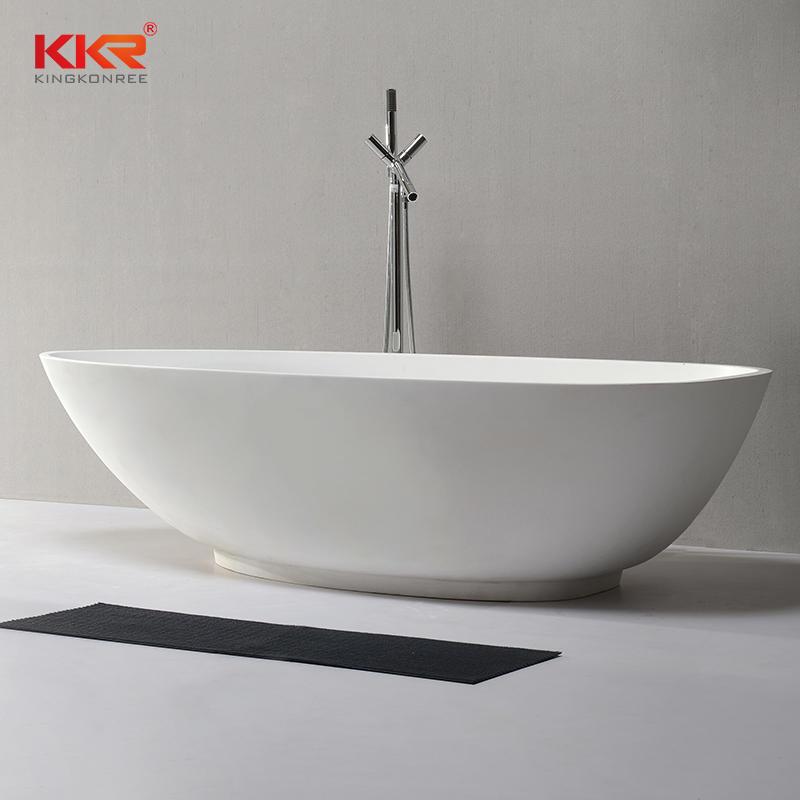 KKR Modern Design White Stone Resin Bathtub KKR-B084
