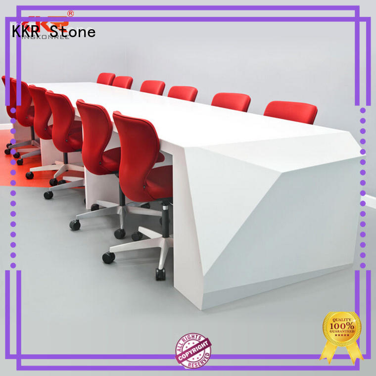 KKR Stone customize solid surface reception desk custom-design for table tops