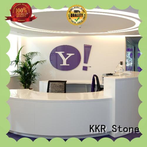 KKR Stone pure acrylic reception desk design shape for entertainment