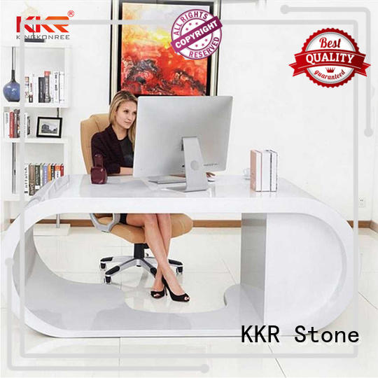 white solid surface desk certifications for early education KKR Stone