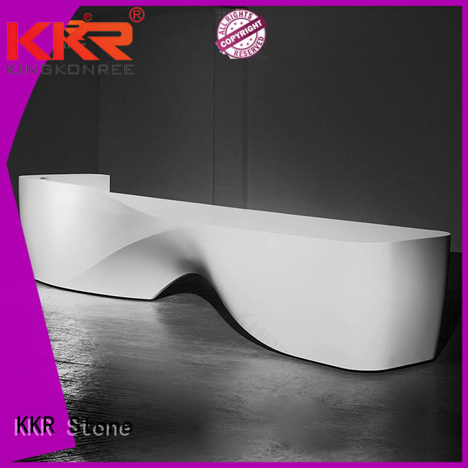 modified acrylic solid surface reception desk lobby supplier for school building