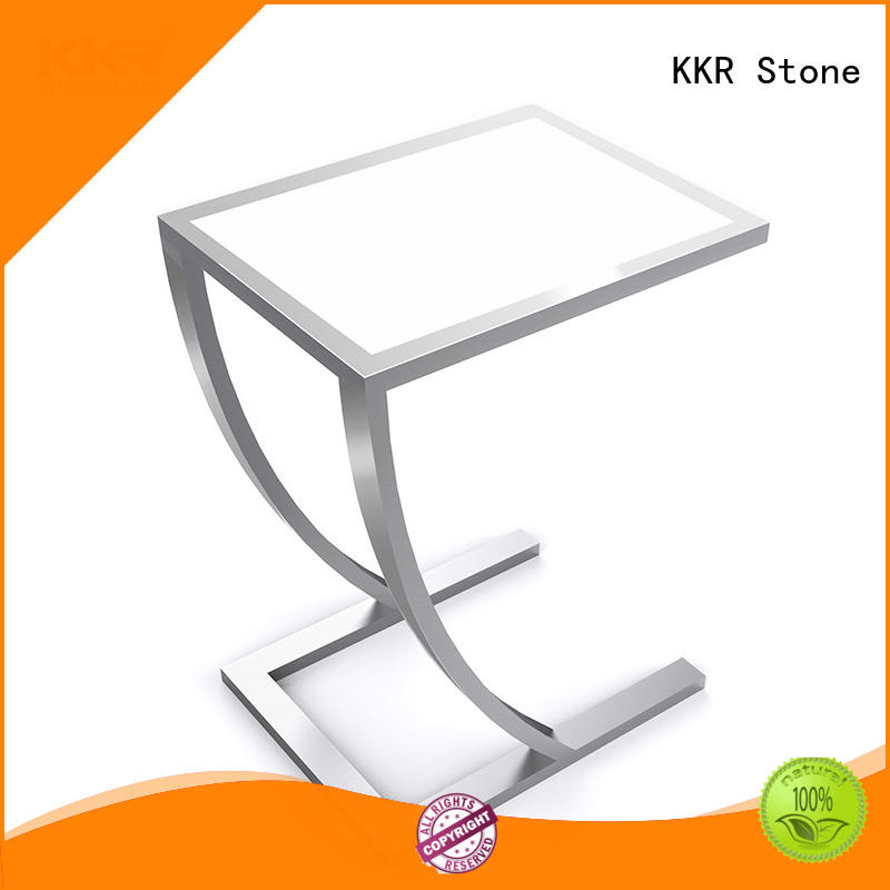 Wholesale white acrylic artificial marble dining table KKR Stone Brand