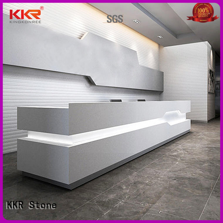 KKR Stone customize solid surface reception desk for table tops