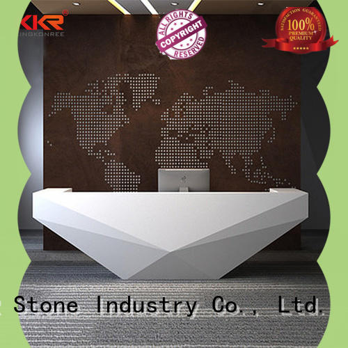 solid curved reception desk free design for school building KKR Stone