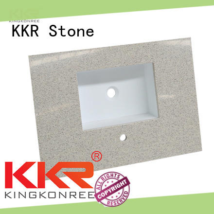 KKR Stone double Sink solid surface bathroom countertops supplier for worktops