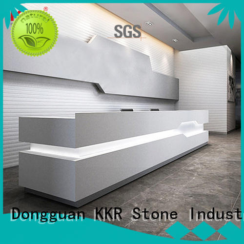 KKR Stone lassic style curved reception desk diamond for school building